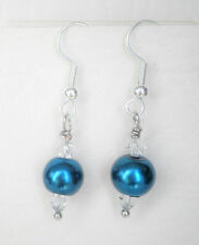 Teal blue 8mm glass pearl and clear glass bead earrings Approx. 4cm drop