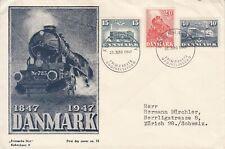 1947 Denmark RAILWAY CENTENARY  FDC - see scans