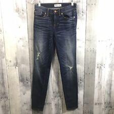Madewell Sz 26 Skinny Mid rise Distressed Jeans Dark Wash