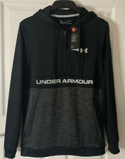 Mens Under Armour 1/2 Zip Hooded Sweatshirt. New. Black/Grey. Size XL  RSP£45