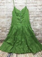BCBG MAXAZRIA Women's XS Green Sundress Tiered Corset PIN TUCK Cotton Sun Dress