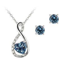 925 Silver London Blue Topaz & Diamond Infinity Heart Necklace & Earrings Set