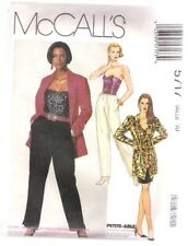 Misses Unlined Jacket Bustier Skirt & Pants McCalls #5717 Sewing Pattern Size 10
