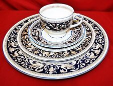 Wedgwood Cobalt Blue Florentine 63 Piece Dinnerware Collection - Service for 8