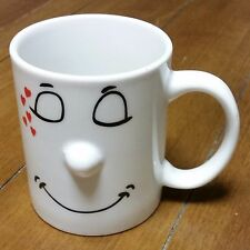 Love Mug Smiley Face in Love with Hearts and 3D Nose White 10 oz Coffee Mug Cup