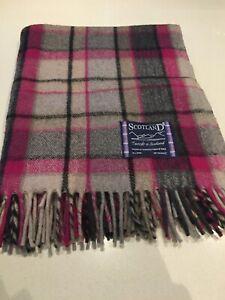 Tweeds of Scotland Wool Warm Blanket Bright Pink Grey Tartan Plaids New Designer