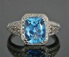 $2500 LeVian 14K White Gold Blue Cushion Topaz Chocolate White Diamond Ring Band