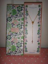 STELLA PICCIOTTO Women's Gold Sterling Silver CROSS & SAINT MARIA Necklace ITALY