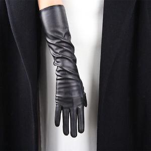 "TECH GLOVES Long Faux Leather 16"" 40cm Opera Evening Elbow Black Touchscreen"