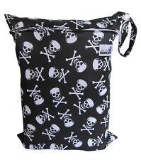 REUSABLE MULTIUSE WET BAG FOR CLOTH NAPPY/DIAPER SWIMMERS BLACK SKULLS
