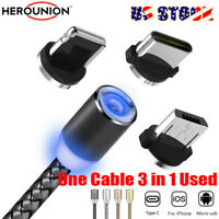 US 1-2M LED Magnetic USB Type C/IOS/Micro USB Fast Charger Charging Magnet Cable