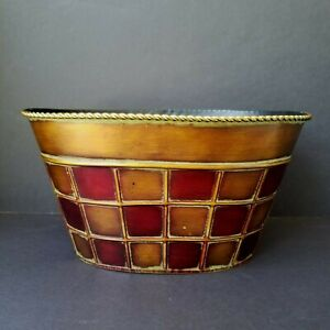 "Decorative Metal Basket Planter, Copper & Red, Rope Edge, Oval 12"" x 9"" x 6.5"""