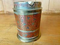 "India Palace 1950s Enamel Ashtray Brass Etched Cylinder Gold Cigarette Holder 4"""