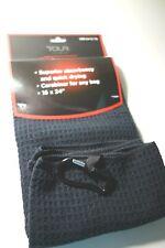 "Tour Logic Microfiber Golf Club Bag Towel Black with Carabiner 16x24"""