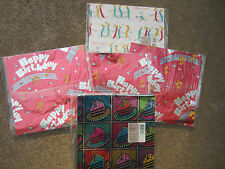 1990s Hallmark 5 flat wrapping paper packs mostly foil Happy Birthday 42 sq ft