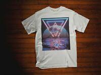 Synthwave Retro Wave Aesthetics Digital Art White Cotton Men's T-shirt Tee