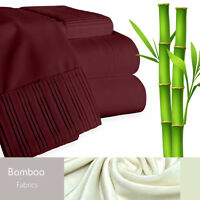 Bamboo Living Eco-Friendly 6 Piece Bedding Soft Sheet Set - Queen - Red