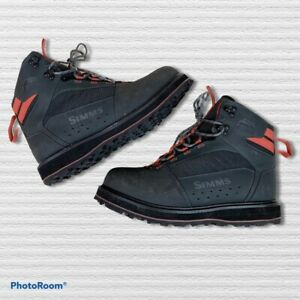 Simms Mens SZ 10 Carbon Color Rubber Sole Fishing Tributary Wading Boots