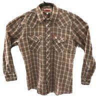 Ely Plains Mens Long Sleeve Plaid Shirt Gold Metallic Thread Sz Large Western