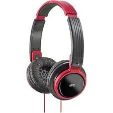 JVC DJ Style Over Ear Headband Headphones Stereo Headset Powerful Bass RED