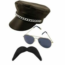 YMCA gay Village People Biker three piece set- hat moustache and glasses.