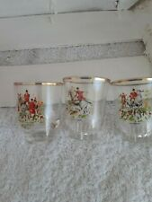 Pretty Vintage French Shot  Glasses Gilt Decorated Hunting Scene x3