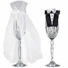2pc Wedding Table Decorations Mr Mrs Bride Groom Champagne Glass Flute Covers