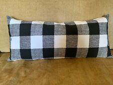 Long Black White Buffalo Check  Bolster Lumbar Pillow Cover   Farmhouse
