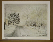 Winters Tracks Fred Thrasher Ky Artist Snow Sold Out Cabin Country Road