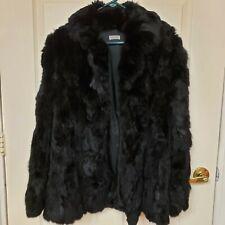 Vintage Rabbit Fur Coat Womens Medium Black