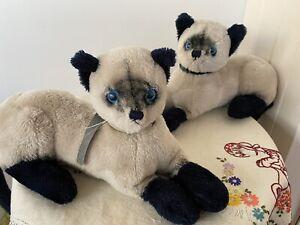 2 x Vintage 1973 R. Dakin & Co.San Francisco 35cm Plush Siamese Cats: Blue Eyes