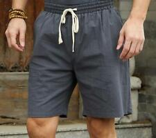Fashion Men Chinese Linen Shorts Summer Casual Solid Plus Size Beach Short Pants