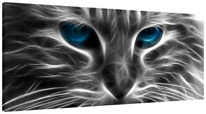 Neon Cat Eyes Panorama Canvas Wall Art Picture
