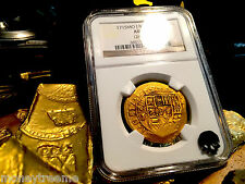 "MEXICO 8 ESCUDOS DATED! ""1715 PLATE FLEET SHIPWRECK"" 1715 NGC 55 GOLD DOUBLOON"