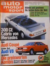 AUTO MOTOR UND SPORT 21.10. - 22/1988 Mercedes Cabrio 300 CE Audi V8 Jaguar XJ