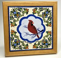 Cardinal Red Bird Floral Accent Signed Tile Art, Trivet Hot Plate w/ Wood Frame