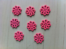 8 beads buttons flowers wood pink 0 19/32in