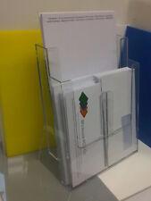 2 TIER PLASTIC LEAFLET HOLDER ENVELOPE PAPER DESK TIDY FOR A4 & DL PAPER