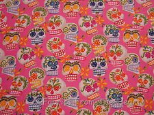 Calaveras Mini Sugar Skulls Flowers Pink 1.58 YARD Alexander Henry Cotton Fabric