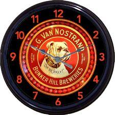 AG Van Nostrand Bunker Hill  Boston Bulldog Beer Tray Wall Clock MA Ale Brew