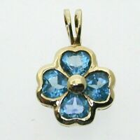 9 Carat Yellow Gold Blue Topaz Lucky Four Leaf Clover Pendant Heart Cut 1 Gram