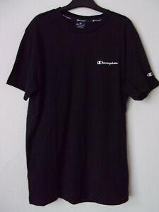 New Mens Champion Black 100% Cotton T-Shirt Top Comfort Fit Size: S