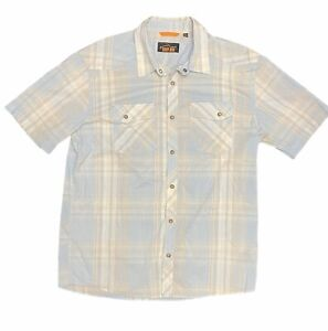 Orvis Fishing Trout Bum Mens S.S. Pearl Snap Button Shirt Size Large Blue Plaid