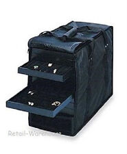 Jewelry Travel Display Case Carrying Showcase Salesman 8 Trays 8 Ring Inserts