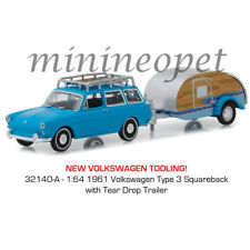 GREENLIGHT 32140 A VOLKSWAGEN TYPE 3 SQUAREBACK with TEAR DROP TRAILER 1/64 BLUE