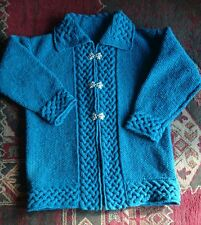 """OOAK. New Donegal tweed aran celtic hand knitted jacket. XL 46"""" chest"""