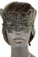 Women Men Half Face Eye Costume Mask Black Fabric Halloween Mardi Gras Gold Wing