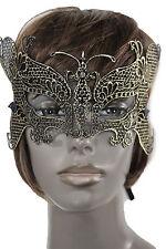 Women Men Half Face Eye Costume Mask Black Fabric Halloween Mardi Gras Gold Wing