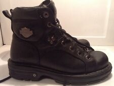 Women's HARLEY DAVIDSON Black Leather Ankle Boots Size 6.5