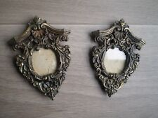 PAIRE CADRE PHOTO MINIATURE DECOR BAROQUE LOUIS XIV METAL DORE VITRE FRAME